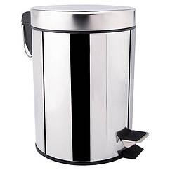 Корзина для мусора с крышкой и педалью в туалет LIDZ 121 LIDZCRM1210105 хром круглое 5л 61642