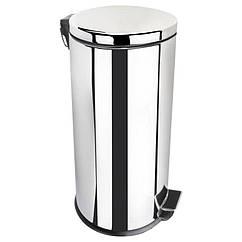 Урна для мусора с крышкой и педалью для кухни LIDZ 121 LIDZCRM1210130 хром круглое 30л 76531