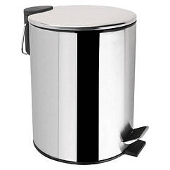Ведро для мусора с крышкой и педалью для ванной LIDZ 121 LIDZCRM1212105 хром круглое 5л 76532