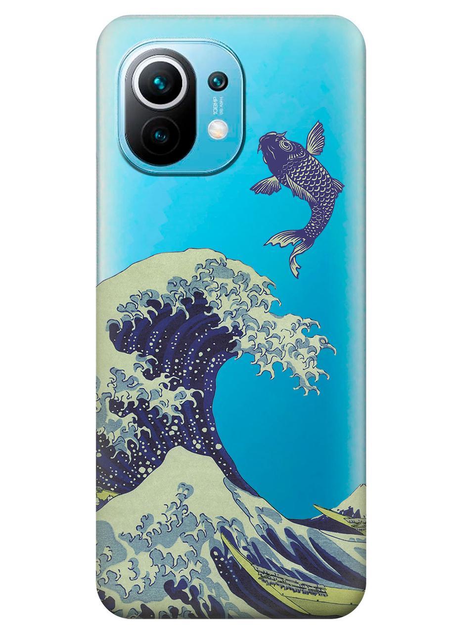 Прозорий силіконовий чохол iSwag для Xiaomi Mi 11 з малюнком - Велика хвиля в Канагаві (KS10850)