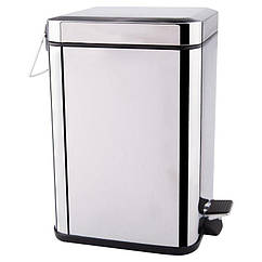 Урна для мусора с крышкой и педалью в туалет LIDZ 121 LIDZCRM1211106 хром квадратное 6л 74839