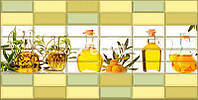 "Листовая Декоративная Пластиковая ПВХ панель на стену 957 х 477мм Регул Плитка"" Ароматы масла"" для кухни 218ам"