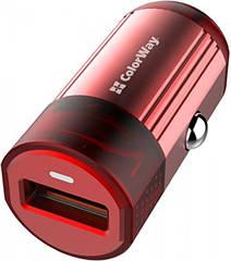 Пристрій зарядний автомобільний Colorway 1USB Quick Charge 3.0 (18W) червоний (код 115285)