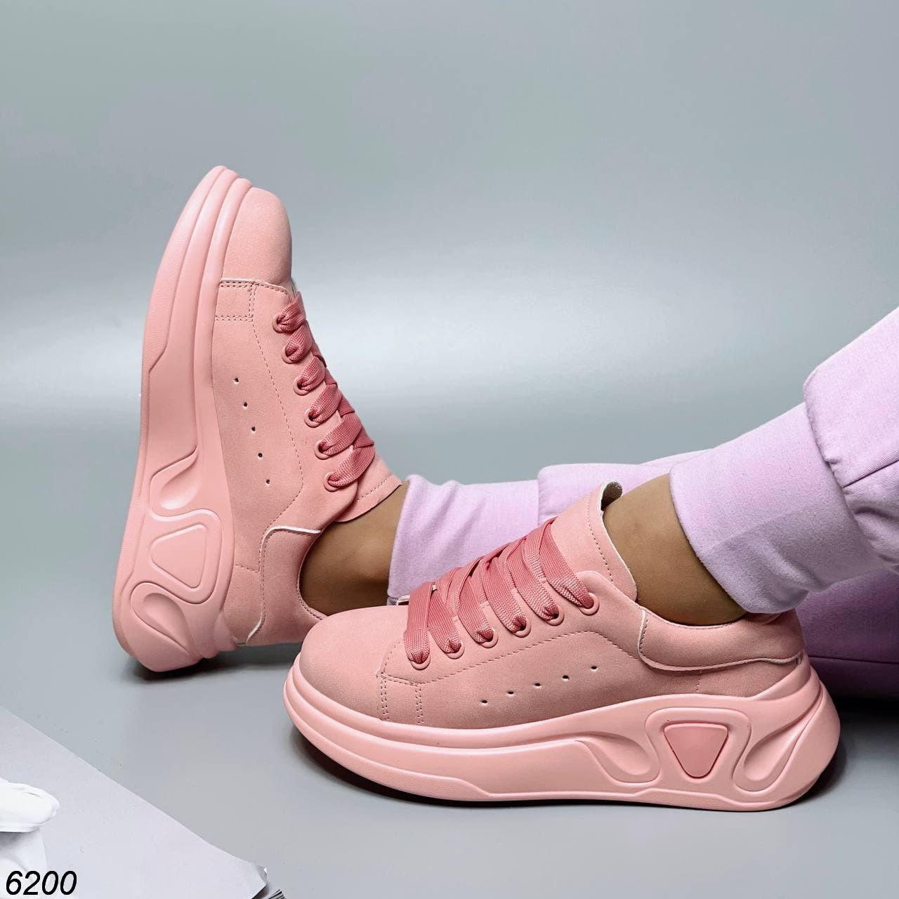 Розовые кеды кроссовки женские кожаные повседневные 40