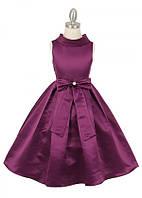 Шикарное атласное платье с бантом  2-10 лет (много цветов)