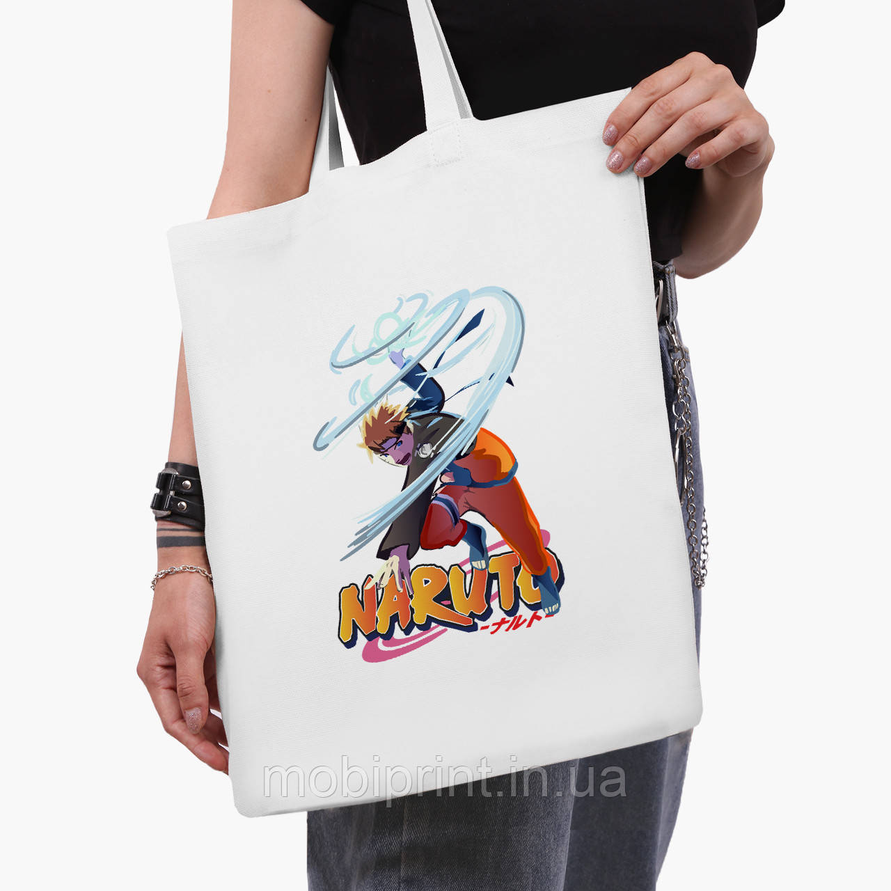 Еко сумка шоппер біла Наруто Узумакі (Naruto Uzumaki) (9227-2814-3) 41*35 см