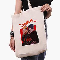 Еко сумка шоппер біла Узумакі Наруто і Саске Учіха (Naruto Uzumaki and Sasuke Uchiha) (9227-2815-1) 41*39*8, фото 1