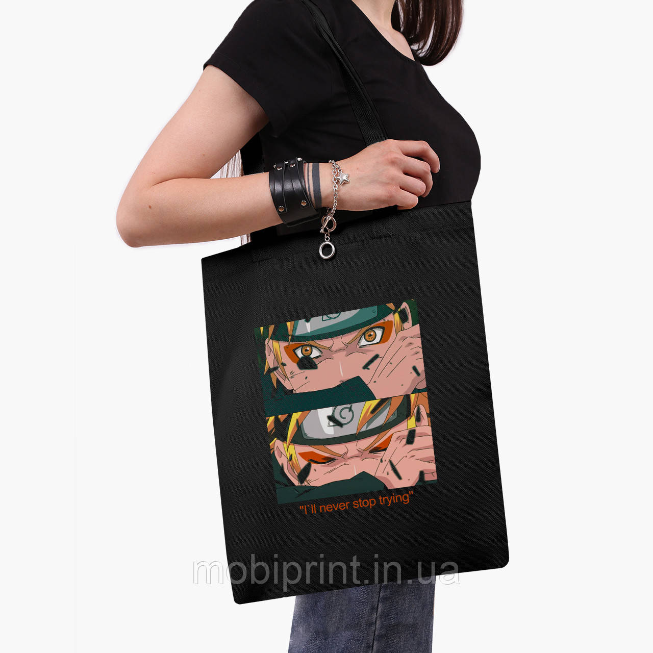 Еко сумка шоппер чорна Наруто Узумакі (Naruto Uzumaki) (9227-2816-2) 41*35 см