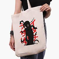 Еко сумка шоппер біла Ітачі Учіха Наруто (Itachi Uchiha) (9227-2817-1) 41*39*8 см, фото 1