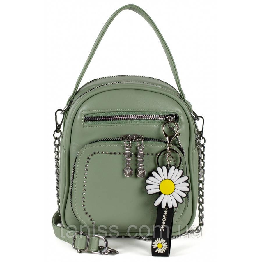Женская каркасная сумка,материал эко-кожа , одна съемная ручка, два  отделения, украшения брелок-ромашка (909)
