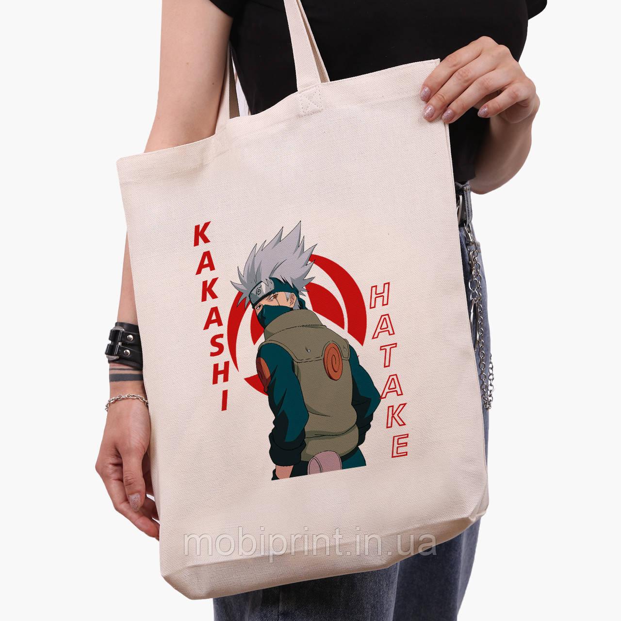Еко сумка шоппер біла Хатакэ Какаші Наруто (Hatake Kakashi) (9227-2820-1) 41*39*8 см