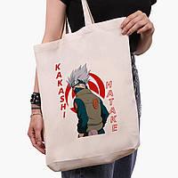 Еко сумка шоппер біла Хатакэ Какаші Наруто (Hatake Kakashi) (9227-2820-1) 41*39*8 см, фото 1