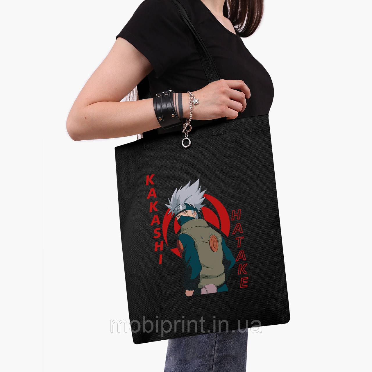 Эко сумка шоппер черная Хатакэ Какаши Наруто (Hatake Kakashi) (9227-2820-2)  41*35 см