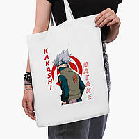 Эко сумка шоппер белая Хатакэ Какаши Наруто (Hatake Kakashi) (9227-2820-3)  41*35 см , фото 1