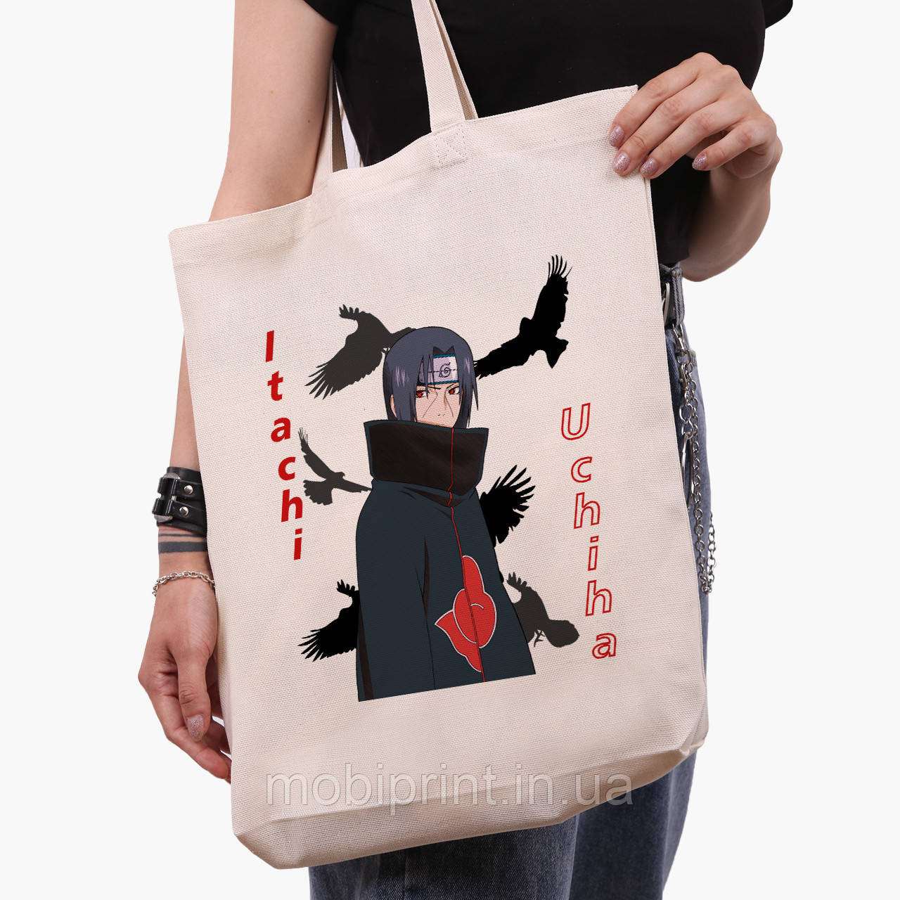 Эко сумка шоппер белая Итачи Учиха (Itachi Uchiha) (9227-2821-1)  41*39*8 см