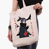 Эко сумка шоппер белая Итачи Учиха (Itachi Uchiha) (9227-2821-1)  41*39*8 см , фото 1