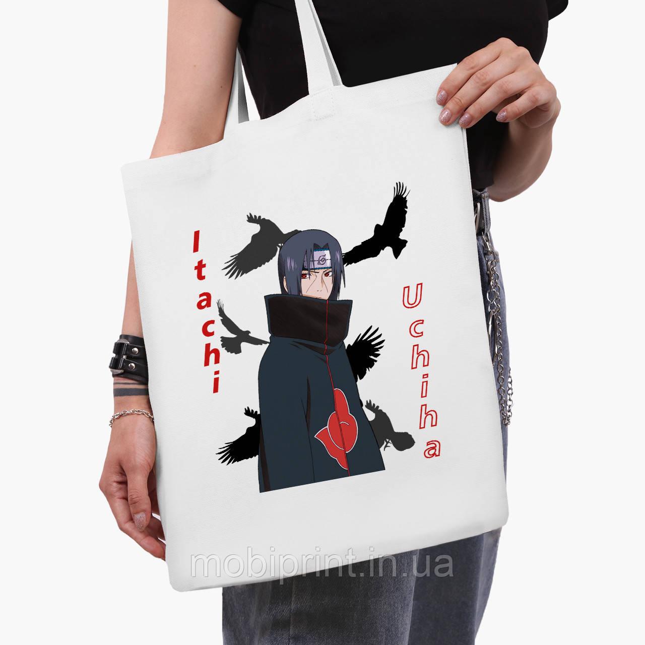 Еко сумка шоппер біла Ітачі Учіха (Itachi Uchiha) (9227-2821-3) 41*35 см