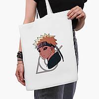 Эко сумка шоппер белая Наруто Узумаки (Naruto Uzumaki) (9227-2822-3)  41*35 см , фото 1