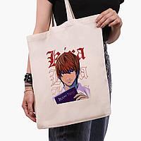 Еко сумка шоппер Кіра Зошит смерті (Kira Death Note) (9227-2823) 41*35 см, фото 1
