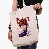 Еко сумка шоппер біла Кіра Зошит смерті (Kira Death Note) (9227-2823-1) 41*39*8 см, фото 1