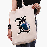 Эко сумка шоппер белая Эл Лоулайт Тетрадь смерти (L Death Note) (9227-2826-1)  41*39*8 см , фото 1