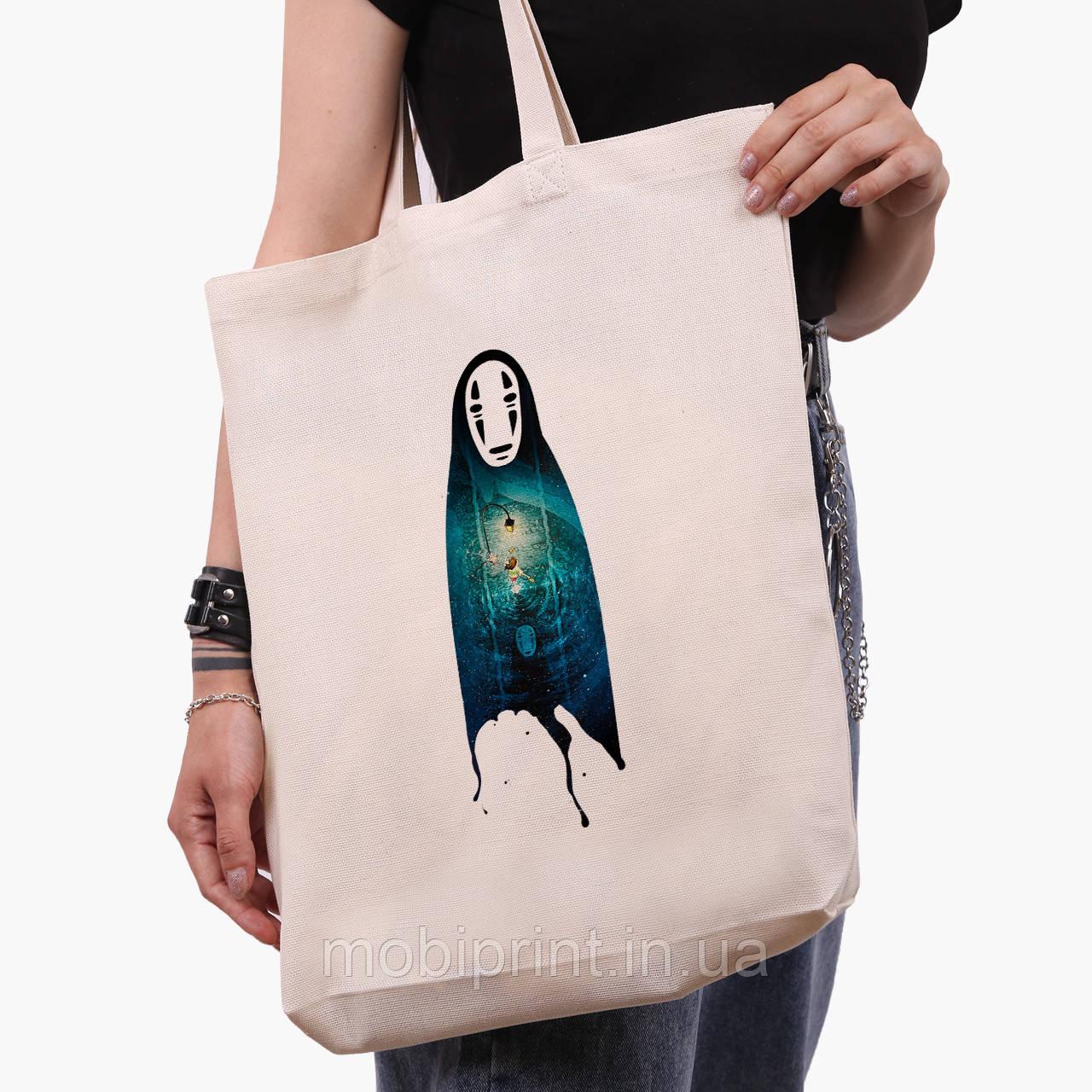Еко сумка шоппер біла Безликий Бог Каонасі Віднесені примарами (Spirited Away) (9227-2831-1) 41*39*8 см