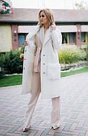 Женское стильное удлиненное пальто на пуговицах Батал, фото 1