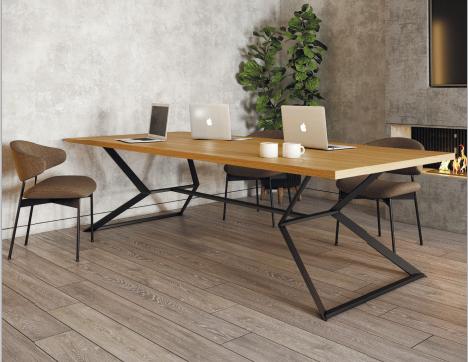 Обеденный стол КРЕДО 750/1000х1600 на металлическом основании из деревянной столешницей Лофт