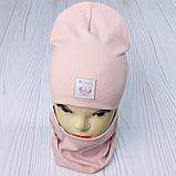 """М 93566. Комплект для дівчаток шапка подвійна """"MINNIE"""" і хомут Vivatricko, 2-10 років, різні кольори, фото 3"""