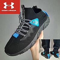 Мужские текстильные кроссовки Under Armour. Летние чёрные беговые кроссовки