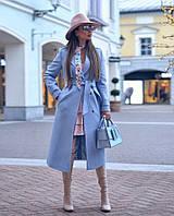 Стильне жіноче пальто на гудзиках з поясом Батал, фото 1