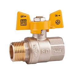"""Кран шаровой SD Plus 1/2"""" ВН для газа (бабочка) SD607NG15PN40"""