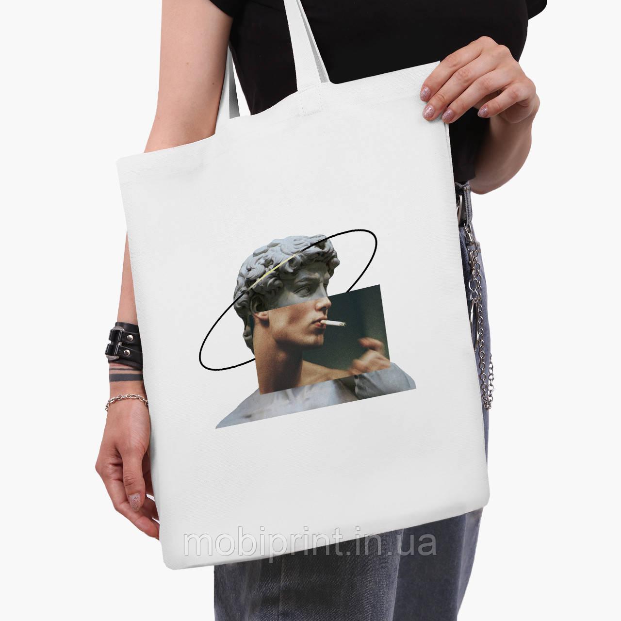 Эко сумка шоппер белая Давид Микеланджело - Ренессанс (David Michelangelo) (9227-1201-3)  41*35 см