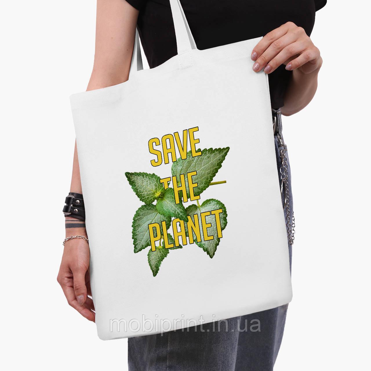 Эко сумка шоппер белая Экология (Ecology) (9227-1336-3)  41*35 см