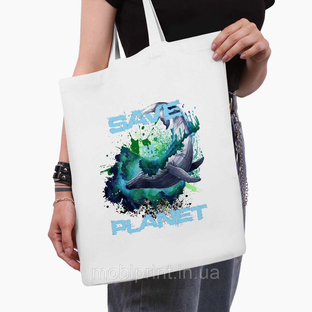 Еко сумка шоппер біла Екологія (Ecology) (9227-1337-3) 41*35 см