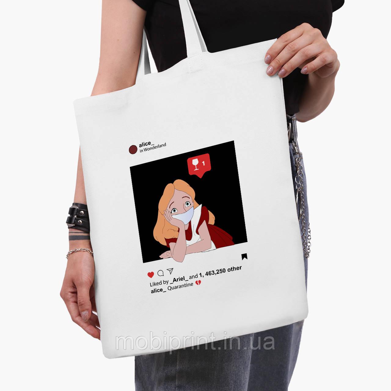 """Эко сумка шоппер белая Дисней Карантин (Disney """"Quarantine"""")  (9227-1419-3)  41*35 см"""