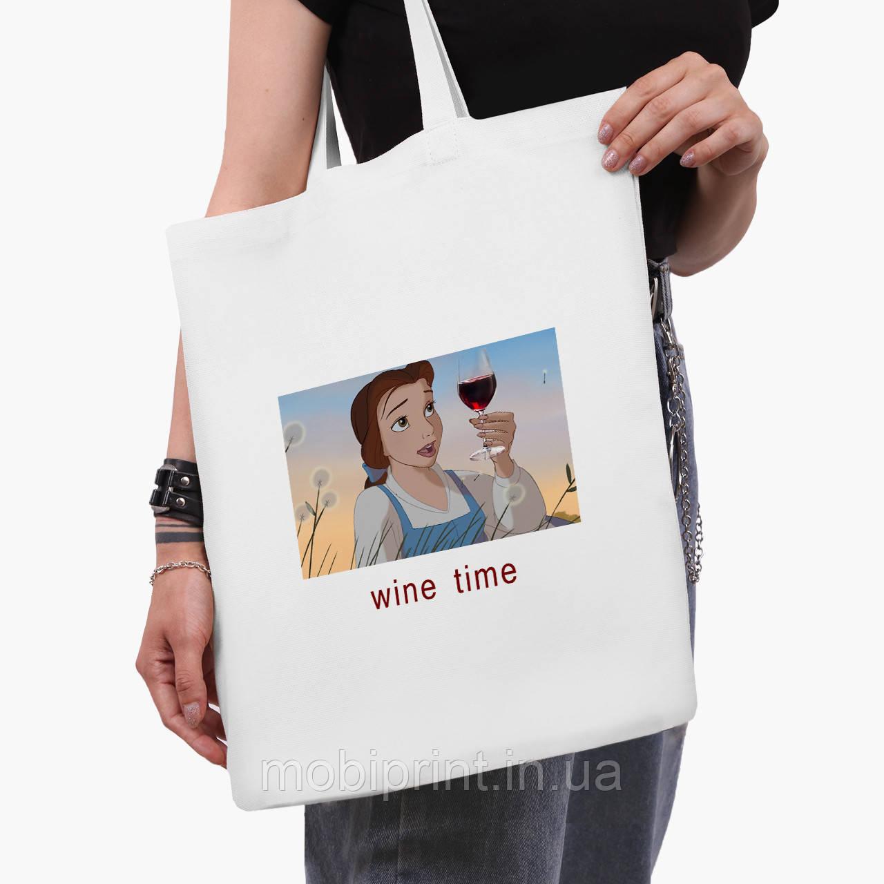 """Эко сумка шоппер белая Золушка """"Дисней"""" (Disney Cinderella) (9227-1429-3)  41*35 см"""