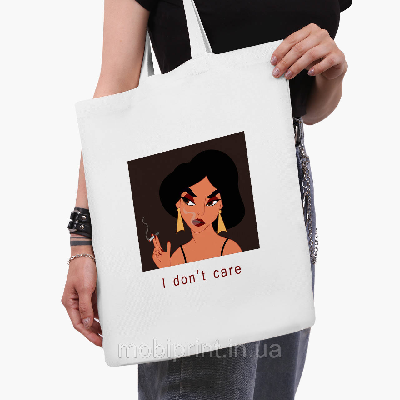 "Эко сумка шоппер белая Жасмин ""Дисней"" (Disney Jasmine) (9227-1430-3)  41*35 см"