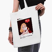 """Эко сумка шоппер белая Алиса с жвачкой """"Дисней"""" ( Alice with """"Disney"""" gum) (9227-1433-3)  41*35 см , фото 1"""
