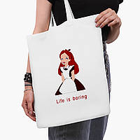 """Еко сумка шоппер біла Аліса """"Дісней"""" (Alice """"Disney"""") (9227-1435-3) 41*35 см, фото 1"""