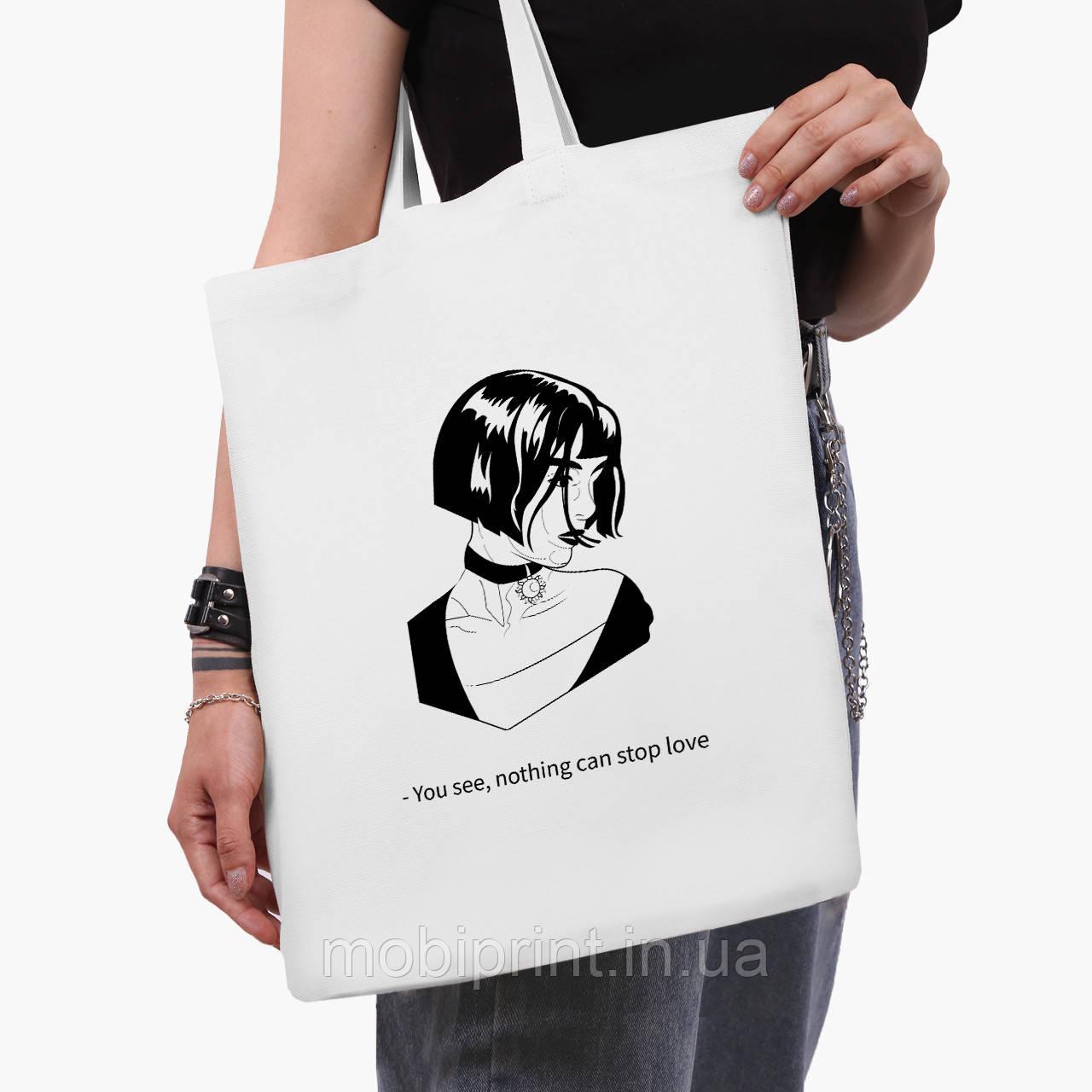 Эко сумка шоппер белая Леон киллер (Leon) (9227-1450-3)  41*35 см