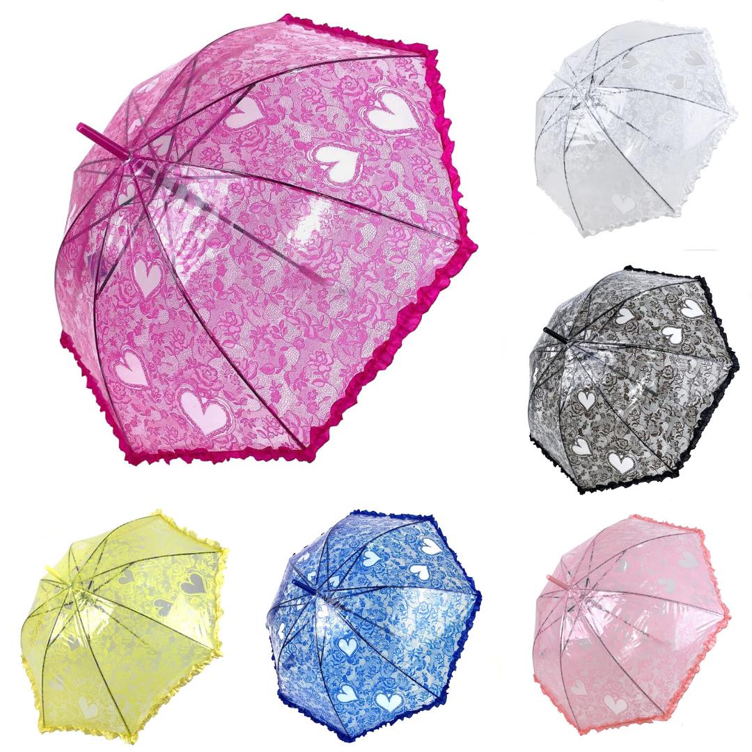 Дитячий прозорий парасольку-тростину з ажурним принтом від SL, різні кольори, 18102