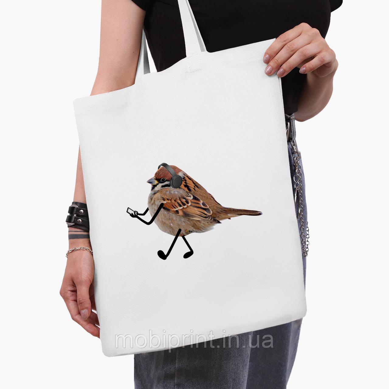 Эко сумка шоппер белая Птицы SWAG (9227-1539-3)  41*35 см