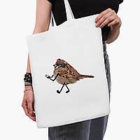 Эко сумка шоппер белая Птицы SWAG (9227-1539-3)  41*35 см , фото 1