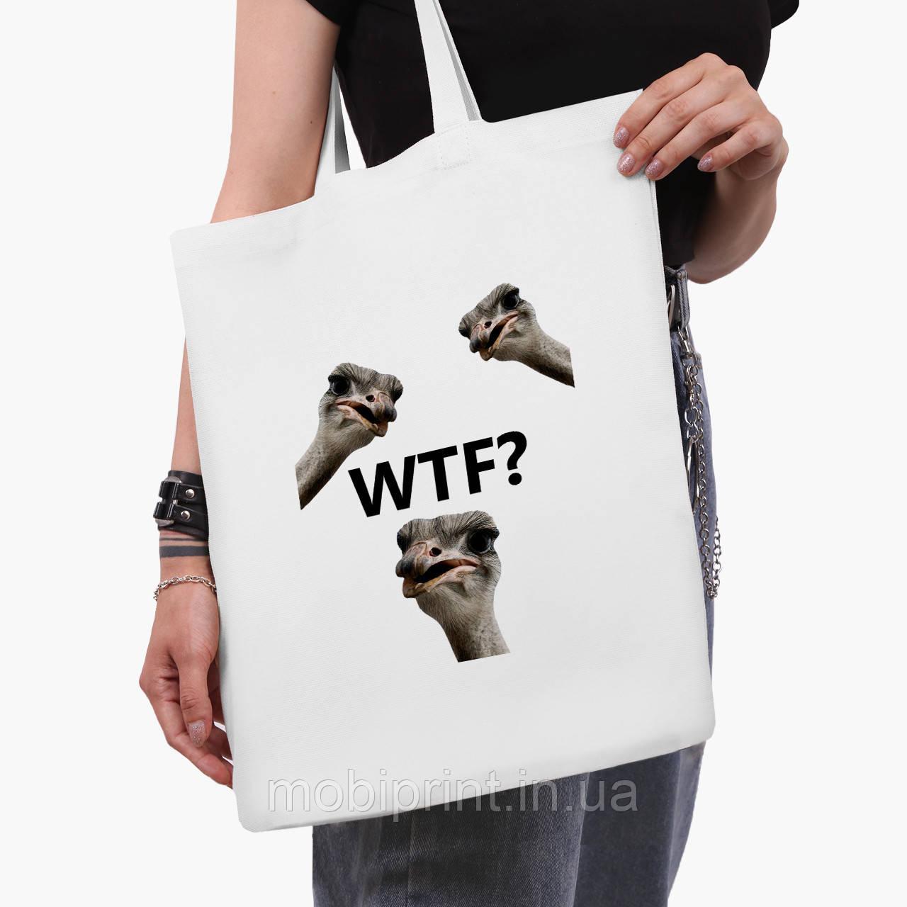 Эко сумка шоппер белая Птицы SWAG (9227-1540-3)  41*35 см