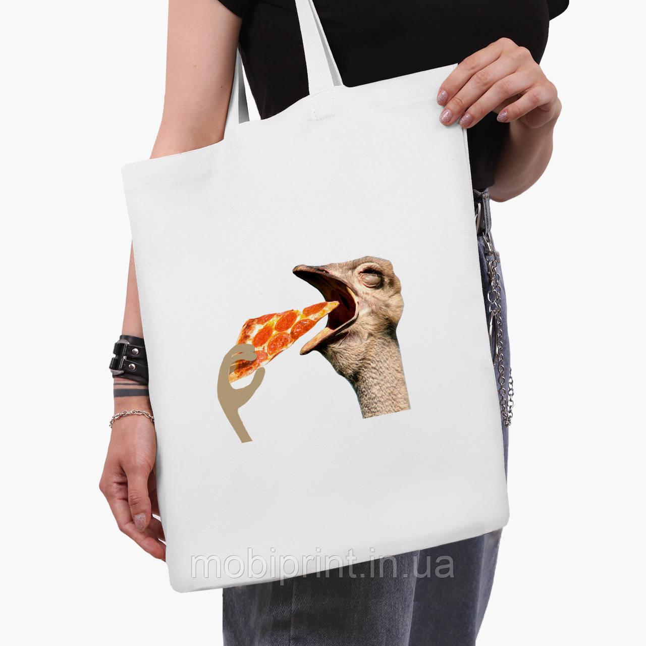 Еко сумка шоппер біла Птаха SWAG (9227-1541-3) 41*35 см