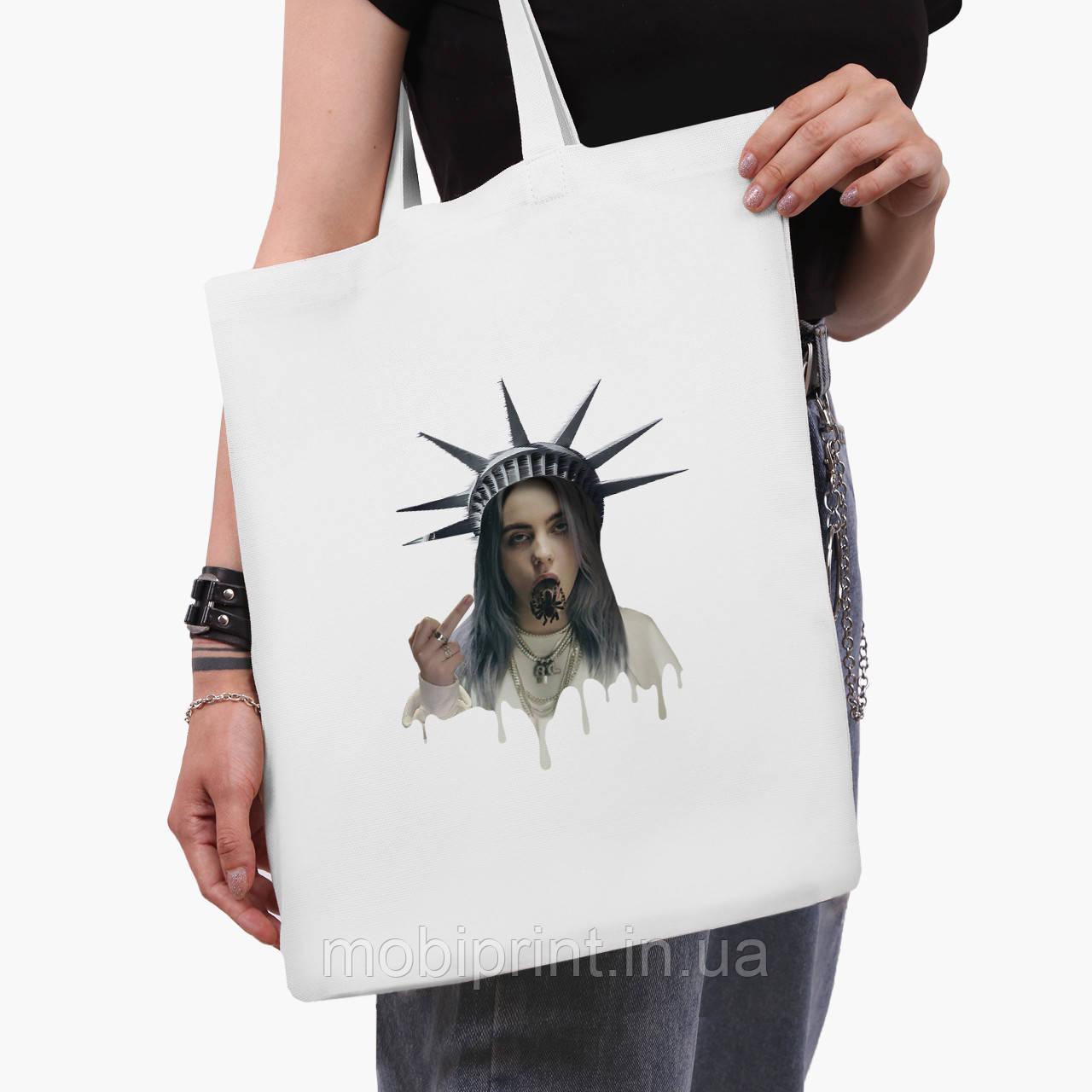 Еко сумка шоппер біла Ренесанс-Біллі Айлиш (Billie Eilish) (9227-1583-3) 41*35 см