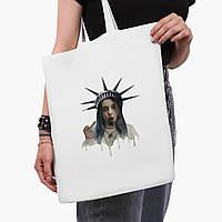 Еко сумка шоппер біла Ренесанс-Біллі Айлиш (Billie Eilish) (9227-1583-3) 41*35 см, фото 1