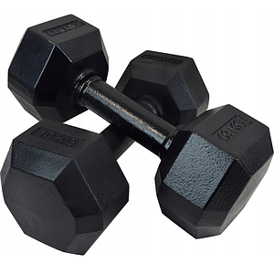 Гантель чугунная шестигранная гексагональная KAWMET 2 по 10 кг
