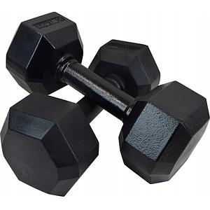 Гантель чавунна шестигранна гексагональная KAWMET 2 по 7,5 кг